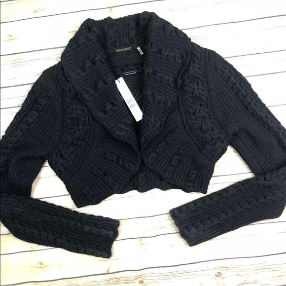 faf68c69422b24 Elie Tahari Merino Wool Cable Mayla Crop Shrug